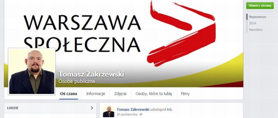 Profil na Facebooku Tomasza Zakrzewskiego