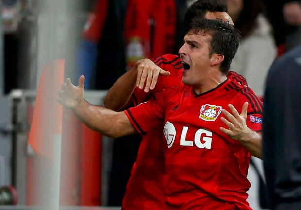 Leverkusens Giulio Donati celebrates after he scored a goal against Zenit St. Petersburg during their Champions League group C soccer match in Leverkusen