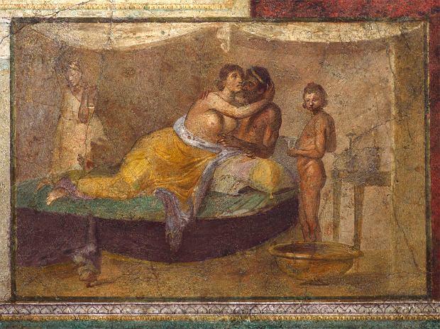 Rzymski fresk przedstawiający scenę miłosną