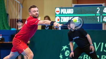 Mecz Pucharu Davisa Polska - Zimbabwe w Sopocie. Michał Przysiężny
