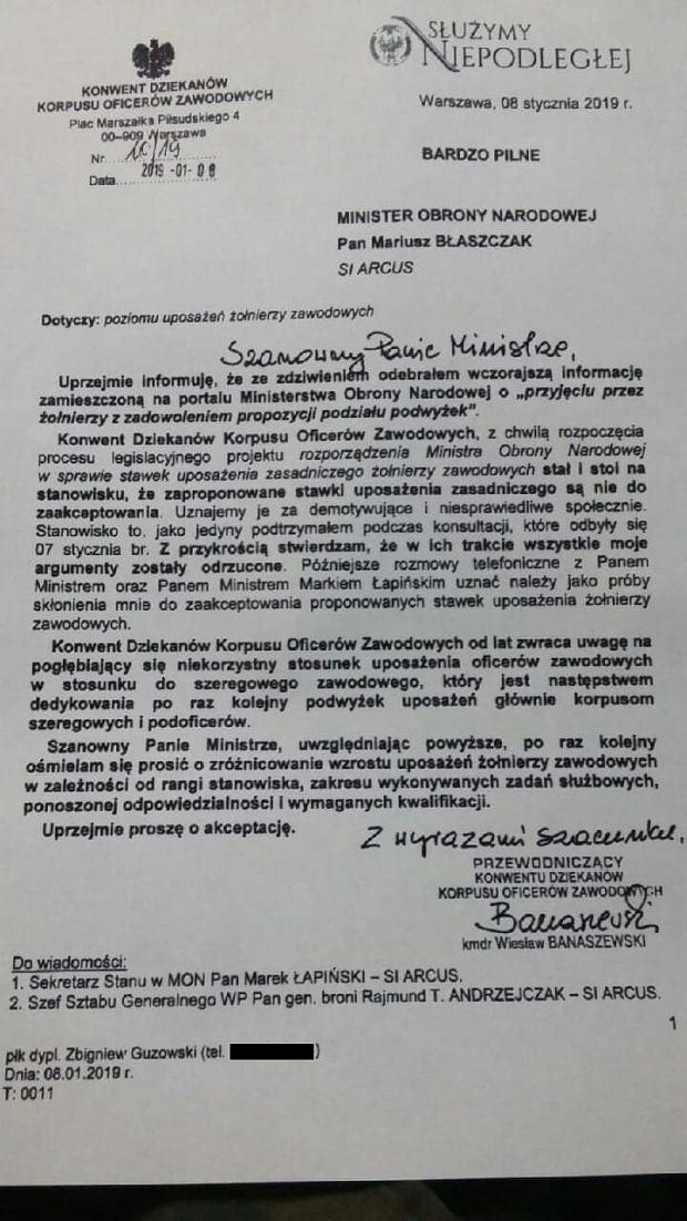 Pismo kmdr Banaszewskiego do ministra Błaszczaka po spotkaniu ws. płac