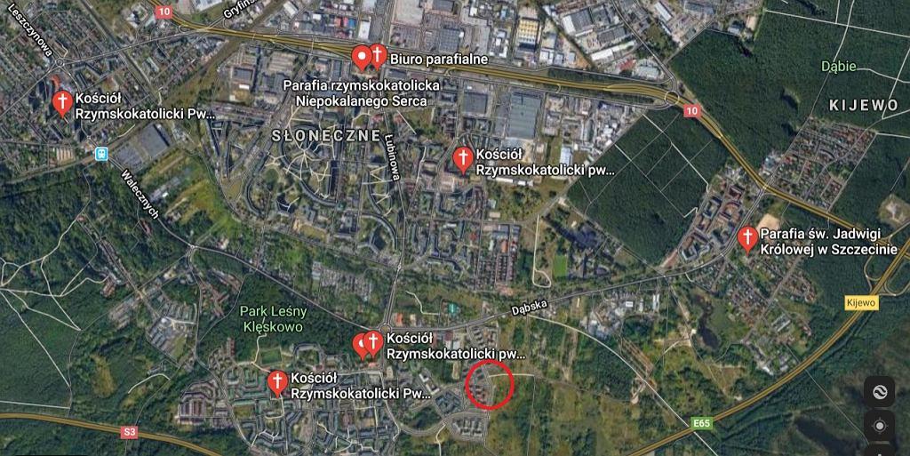 Natężenie kościołów w Szczecinie (Google Maps)