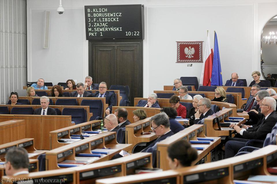Debata nad ustawą kagańcowa PiS. Warszawa, Senat, 17 stycznia 2020