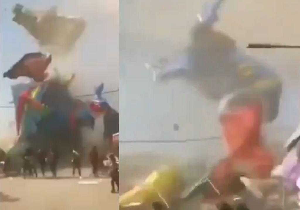 Chiny. Wir pyłowy porwał dmuchany zamek. Zginęło dwoje dzieci