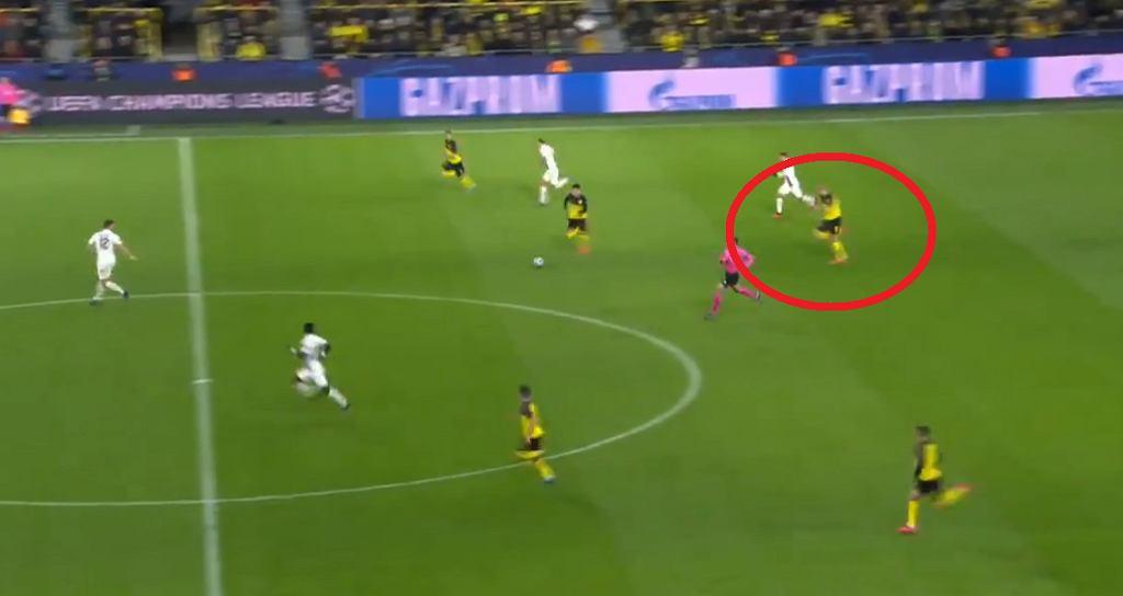 Sprint Erlinga Haalanda w meczu Ligi Mistrzów: Borussia Dortmund - PSG