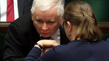 Jarosław Kaczyński i Krystyna Pawłowicz podczas porannego bloku glosowań, luty 2017.