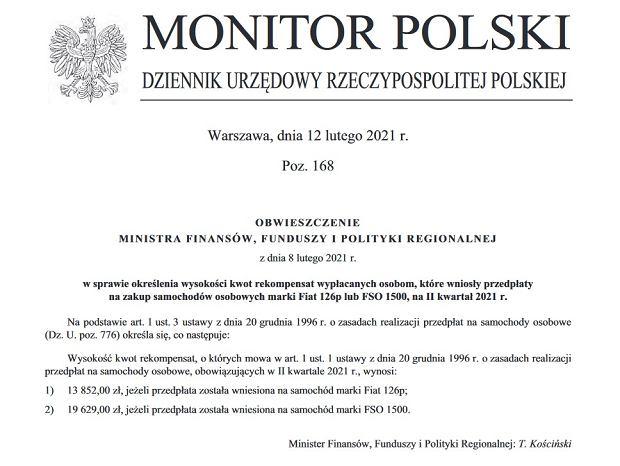 Wysokość kwot rekompensat za Fiata 126p i FSO 1500 w II kw. 2021 r.