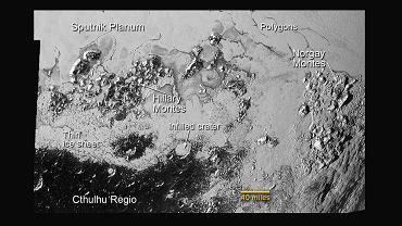 Kratery i łańcuchy górskie na Plutonie