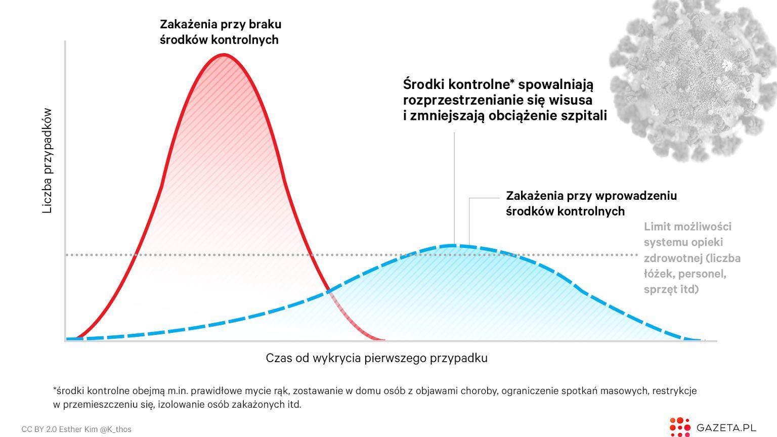 COVID-19 może przeciążyć szpitale. Ten wykres pokazuje, co nam dają środki zaradcze i izolacja