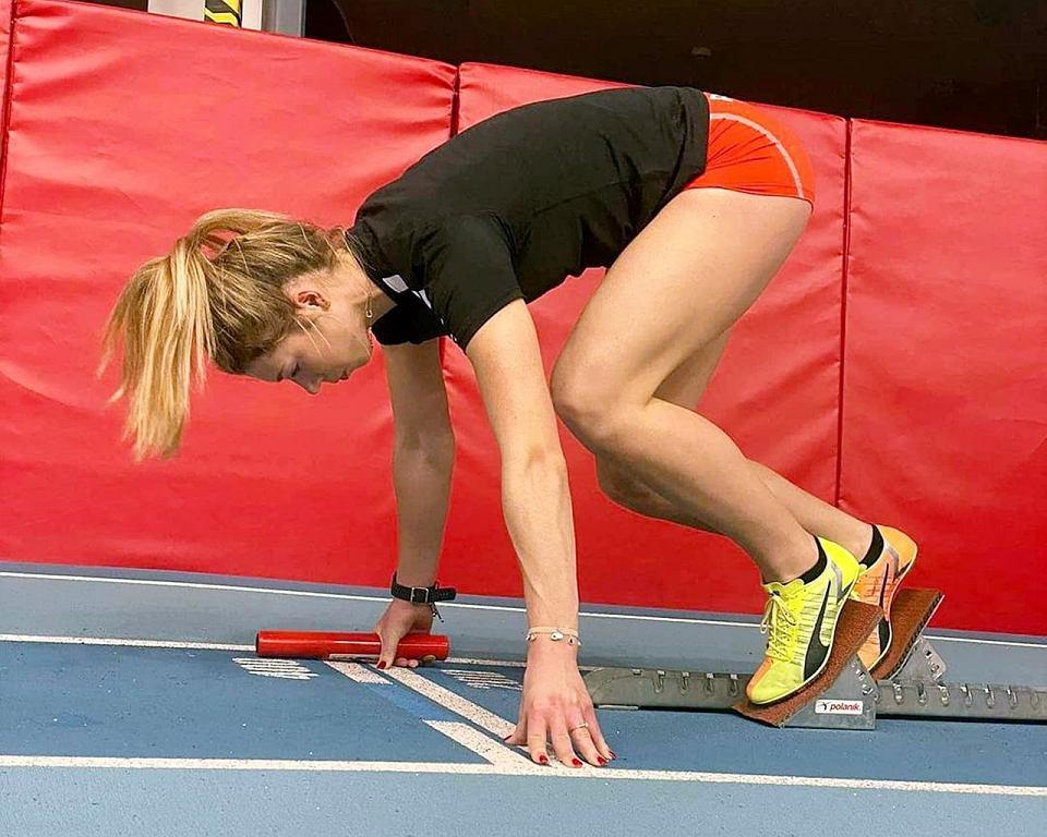 Lekkoatletka AZS AWF Gorzów Kornelia Lesiewicz podczas ostatnich treningów przed halowymi mistrzostwami Europy seniorów w Toruniu
