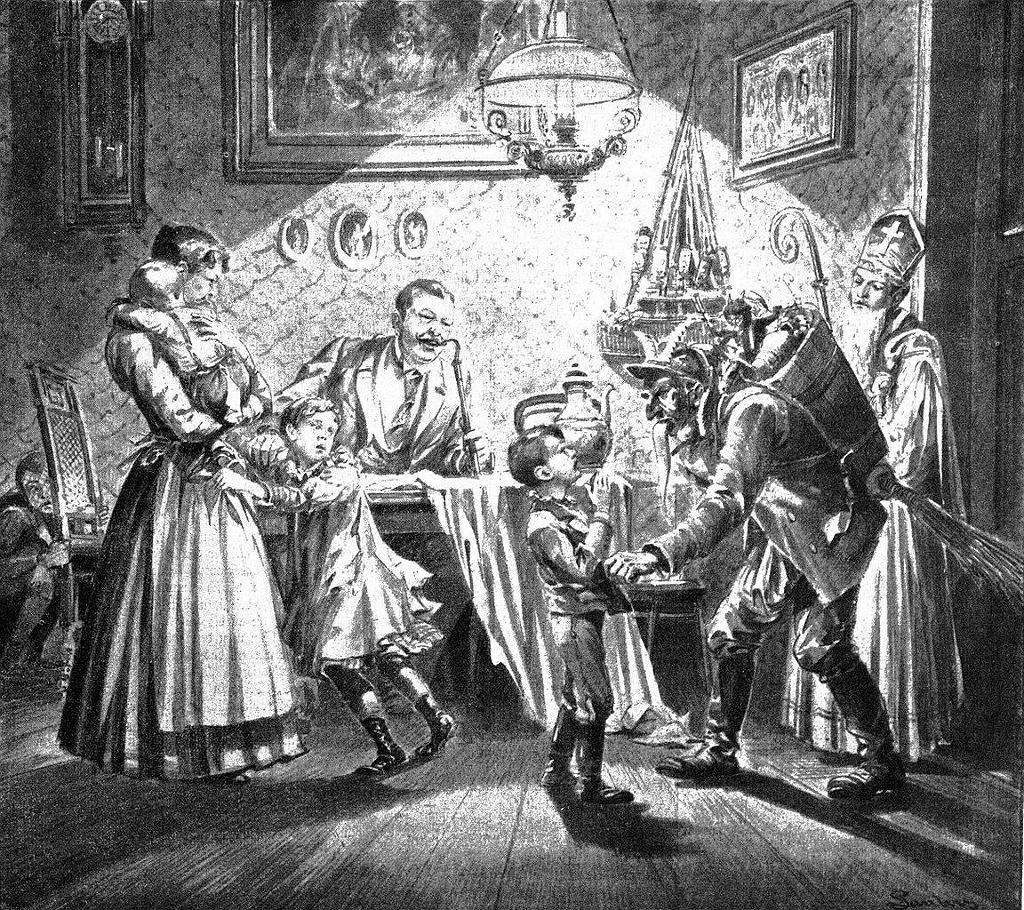 Krampus odwiedzający niegrzeczne dzieci w Mikołajki, Austria, 1896 / Domena publiczna
