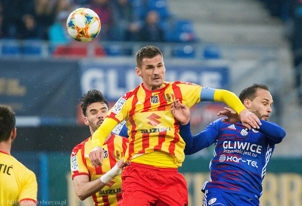 Gliwice, 13 kwietnia 2019. PKO Ekstraklasa: Piast Gliwice - Korona Kielce. Adnan Kovacević
