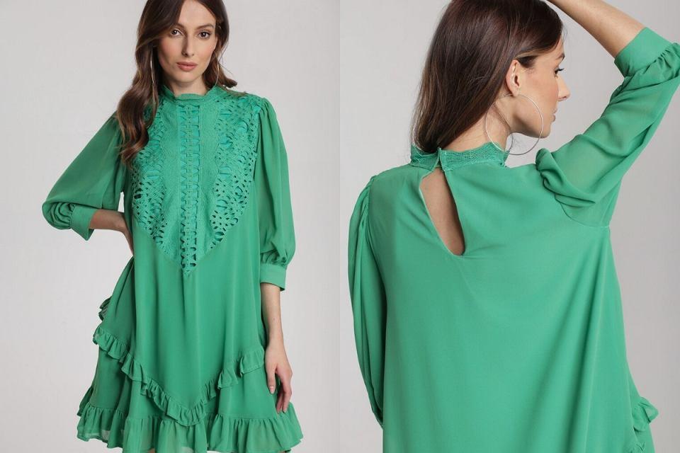 Zielona sukienka z ażurowym dekoltem to hit na lato 2020!