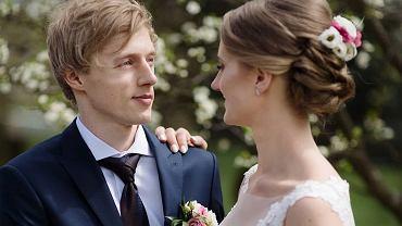 Dawid Kubacki z żoną Martą w dniu ślubu