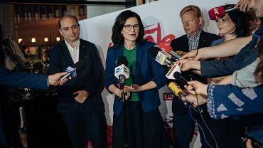 05.06.2019 Europejskie Centrum Solidarności . Prezydentka Gdańska Aleksandra Dulkiewicz podczas konferencji prasowej po zakończeniu głównej części obchodów 30. rocznicy 4 czerwca