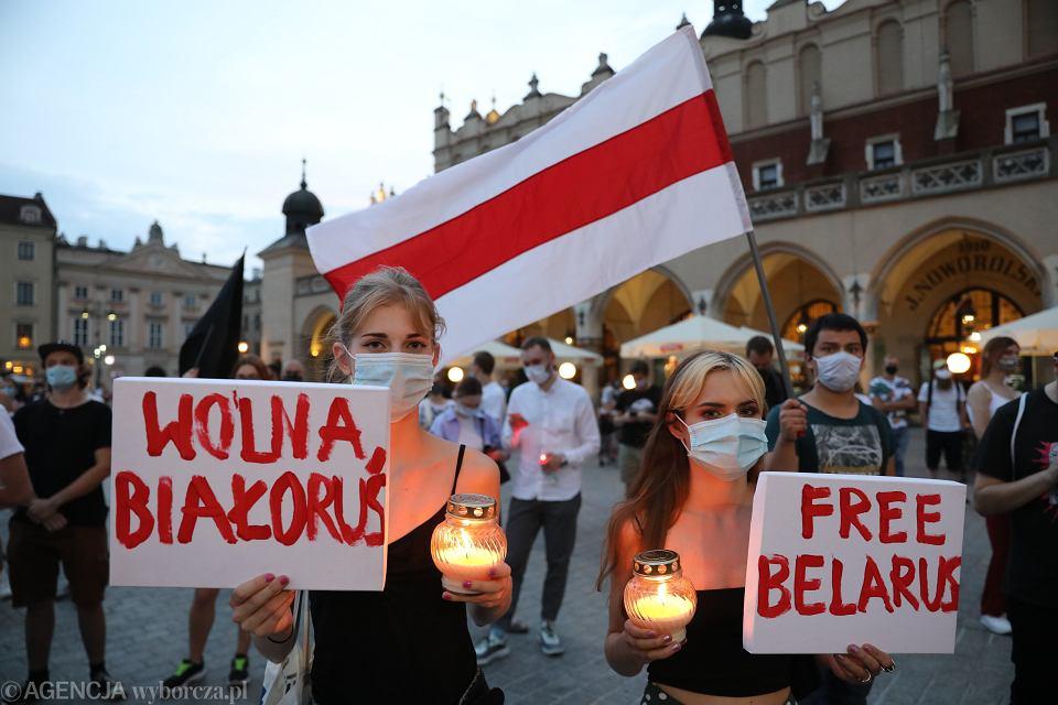 Manifestacja solidarności z Białorusią w Krakowie, 10 sierpnia 2020.