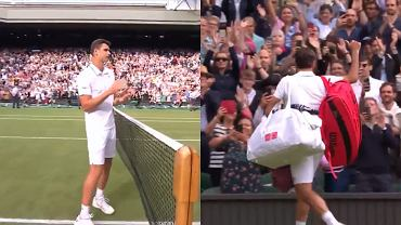 Hubert Hurkacz oklaskuje Rogera Federera