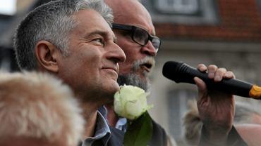 Władysław Frasyniuk i Paweł Kasprzak podczas manifestacji 10 lipca w Warszawie