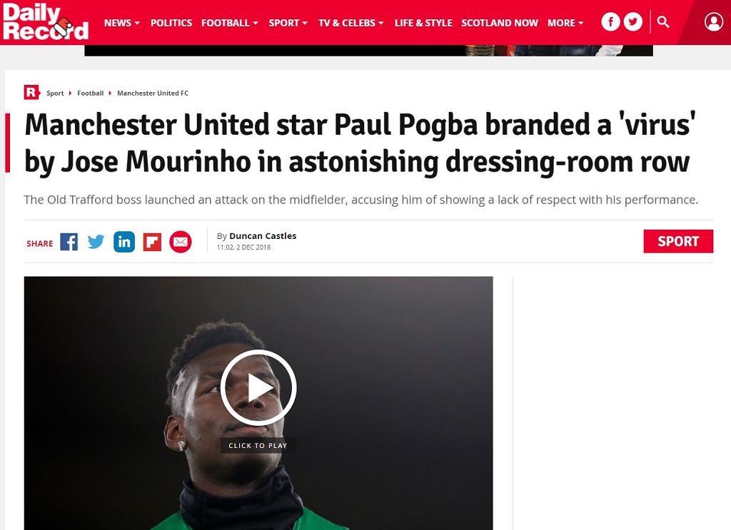 Jose Mourinho nazwał Paula Pogbę 'wirusem'