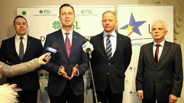 Wspólna konferencja PSL i Unii Europejskich-Demokratów. Władysław Kosiniak-Kamysz, Jacek Protasiewicz, Stanisław Huskowski