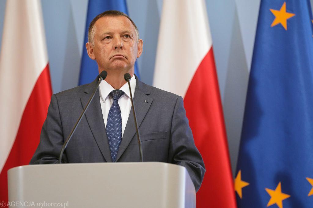 Marian Banaś podczas prezentacji projektu budżetu państwa na rok 2020. Warszawa, KPRM, 27 sierpnia 2019