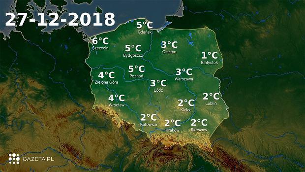 Prognoza pogody na dziś - czwartek 27 grudnia. To będzie kolejny ciepły, deszczowy dzień