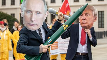 Demonstranci w maskach Putina i Trumpa protestują pod amerykańską ambasadą w Berlinie przeciwko wyjściu USA z traktatu INF, 1 lutego 2019 r.