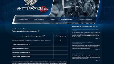 Na stronie internetowej Centrum Antyterrorystycznego ABW wyliczone są cztery stopnie stanu zagrożenia Polski przed możliwymi zamachami. Mimo tragedii w Paryżu, stolicy kraju połączonego z nami sojuszem militarnym w ramach NATO, od wczorajszej nocy tabela ani drgnęła
