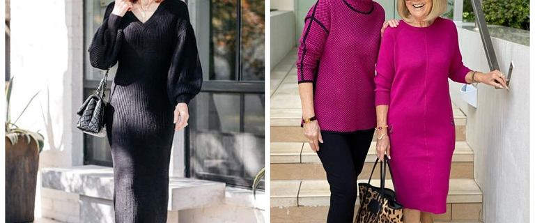 Eleganckie i stylowe sukienki dzianinowe dla 50-tek. Klasyczne modele pasują do wszystkiego