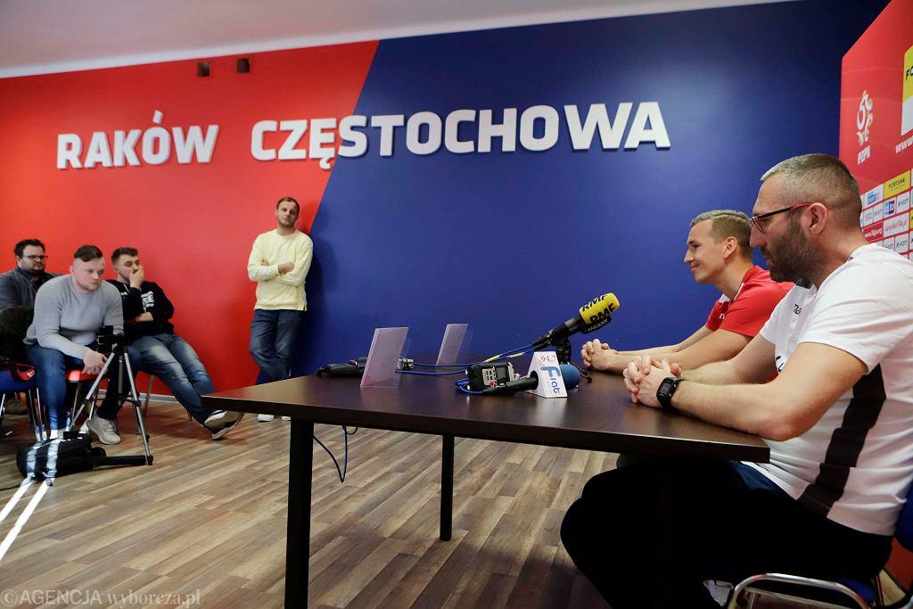 Raków Częstochowa, 27 lutego 2019 r. Konferencja prasowa przed rozpoczynąjącą się rundą wiosenną I ligi piłki nożnej