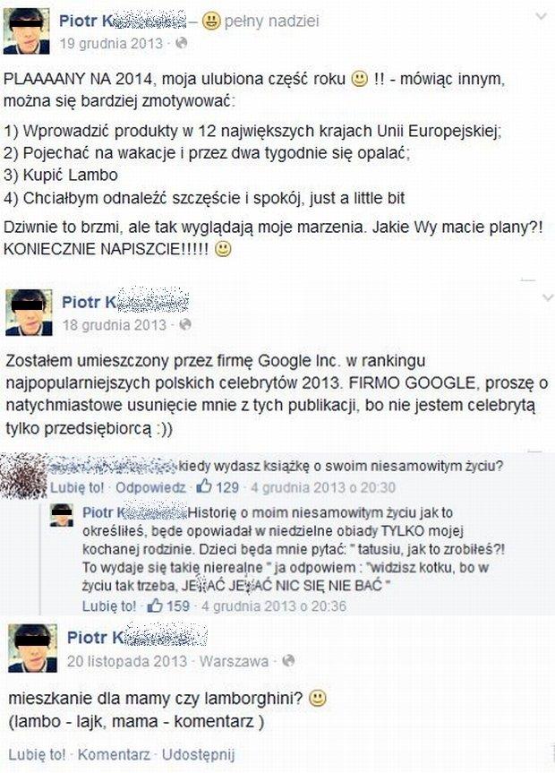 Komentarze na profilu Piotra K.