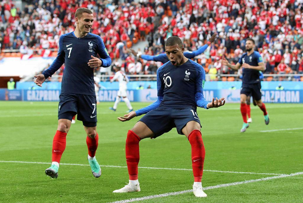 Kylian Mbappe podczas meczu reprezentacji Francji z Peru