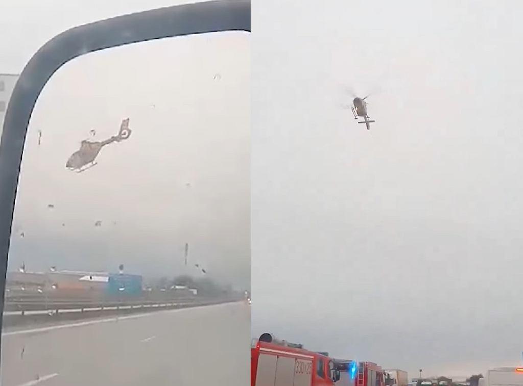 Z powodu silnego wiatru helikopter LPR nie może wylądować do wypadku na A4.