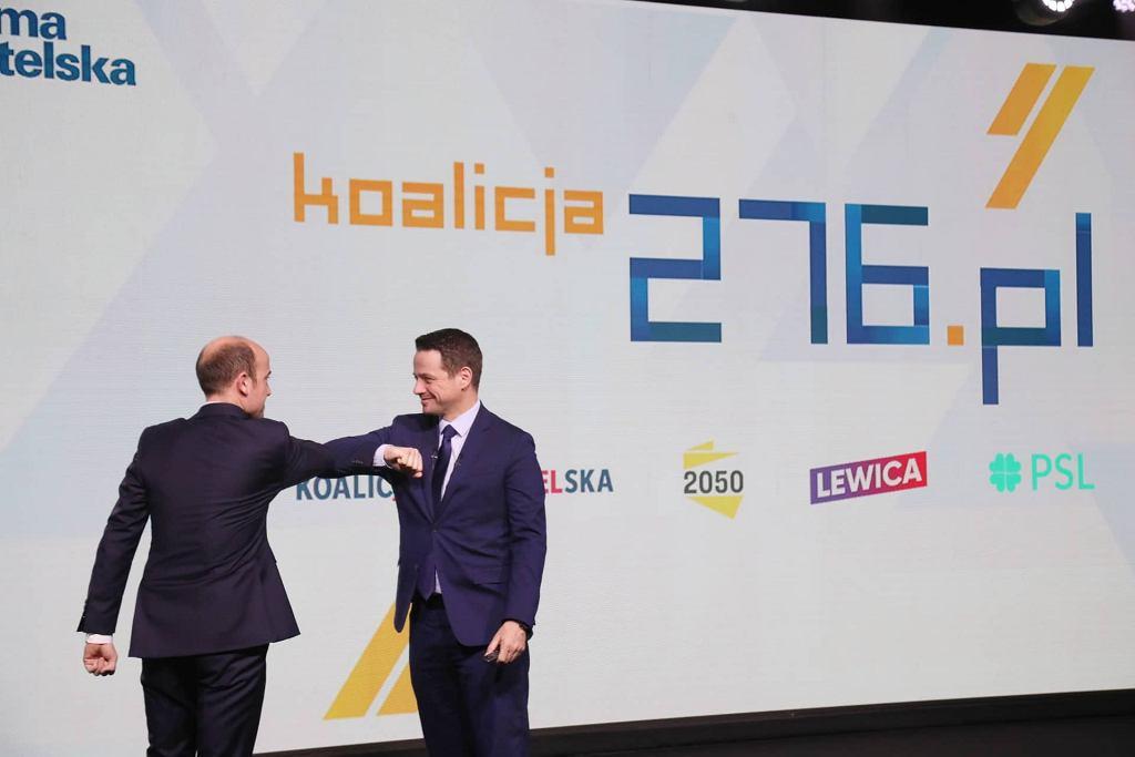 Borys Budka i Rafał Trzaskowski podczas konferencji prasowej Platformy Obywatelskiej, 6.02.2021