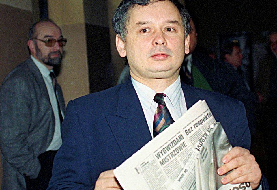 Proces członków Zarządu Fundacji Prasowej Solidarności przed Sądem Wojewódzkim w Warszawie, którzy zostali oskarżeni o działanie na szkodę swojej Fundacji. Nz. oskarżony Jarosław Kaczyński, Warszawa 11 października 1993 r.