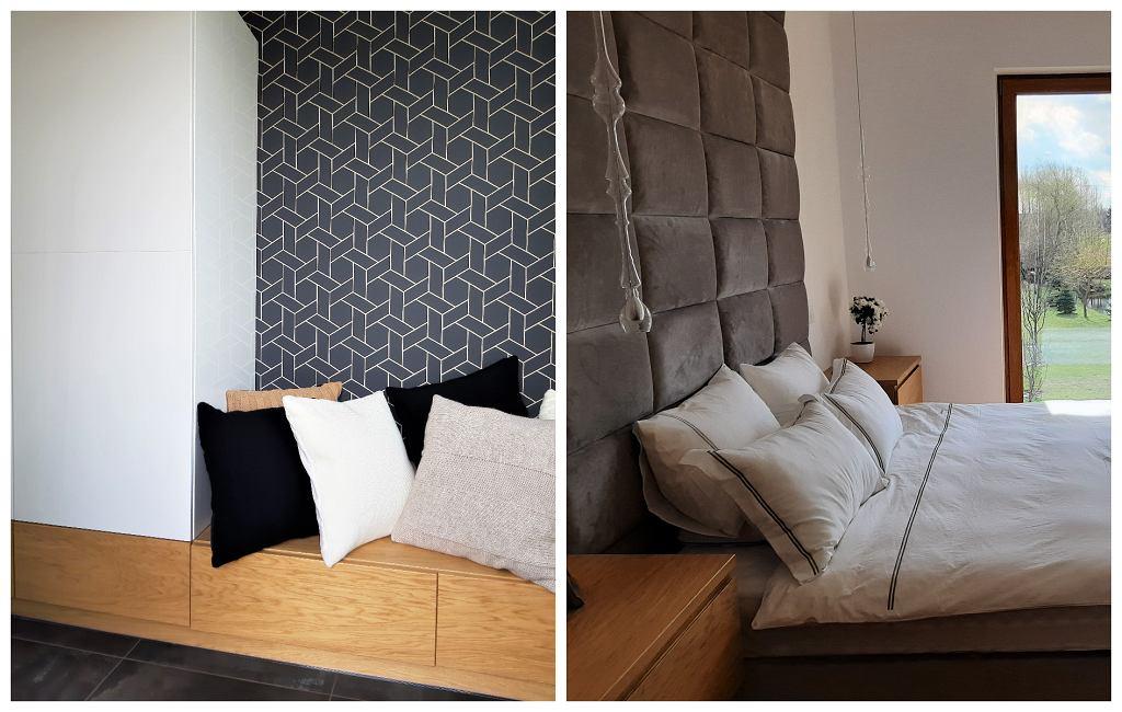 Z lewej: zabudowa meblowa w przedpokoju. Z prawej: tapicerowana ściana za łóżkiem.