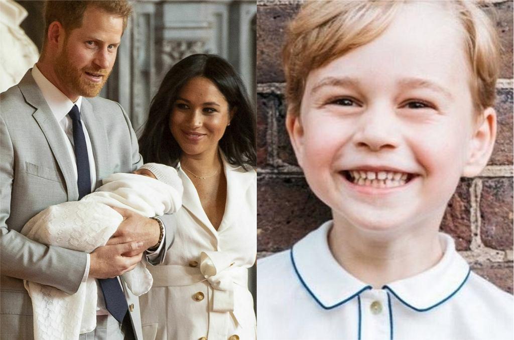 Meghan Markle i książę Harry z synem, książę George
