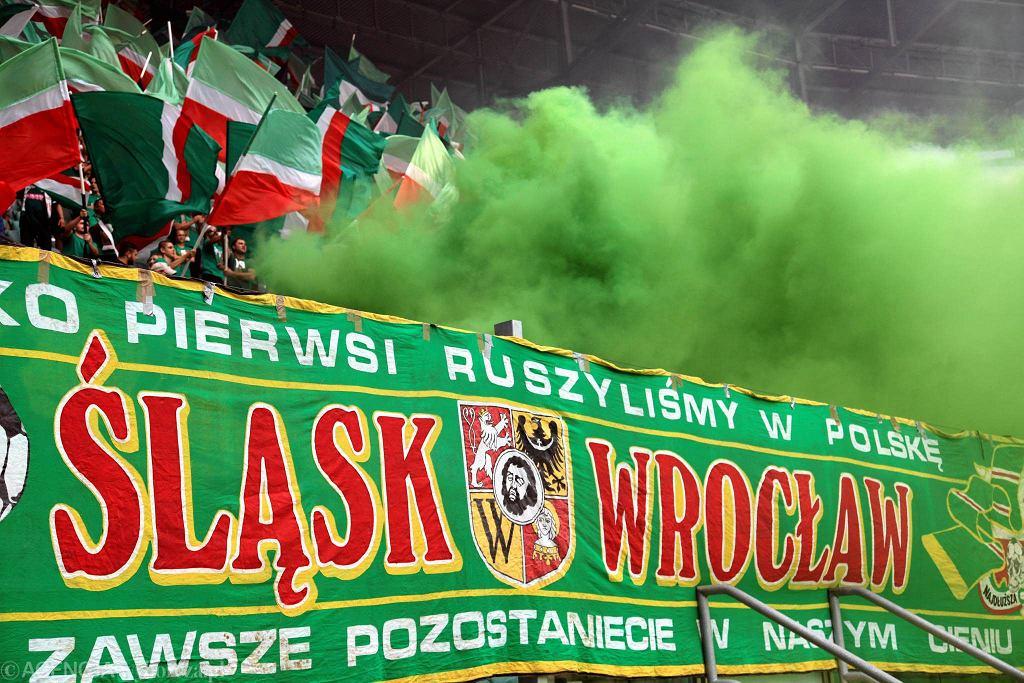 Sektor fanatyków Śląska podczas meczu z Lechią Gdańsk