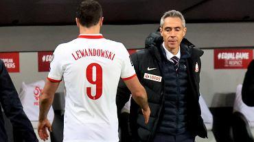 Robert Lewandowski i trener Paulo Sousa  podczas meczu z Andorą
