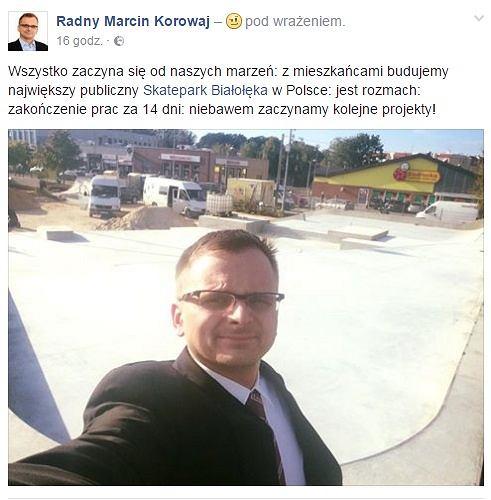 Radny Marcin Korowaj i Skatepark Białołęka