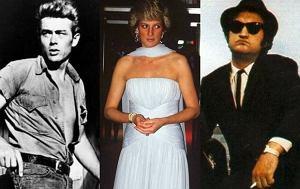 James Dean, księżna Diana, John Belushi