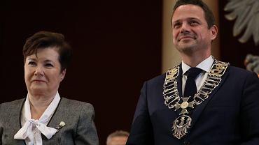 Rafał Trzaskowski i Hanna Gronkiewicz-Waltz podczas zaprzysiężenia
