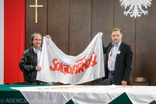 Chris de Burgh i Piotr Duda przed koncertem z okazji 35. rocznicy powstania NSZZ Solidarnosc