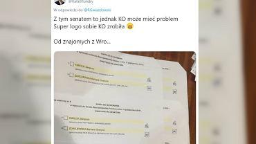 Zdjęcie, które ma pokazywać błędnie skreślone karty do głosowania we Wrocławiu