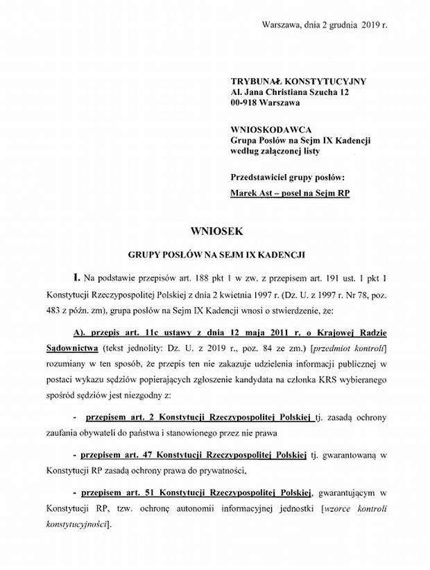 Wniosek posłów PiS do TK