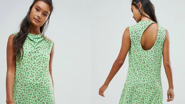 Zielona sukienka we wzory