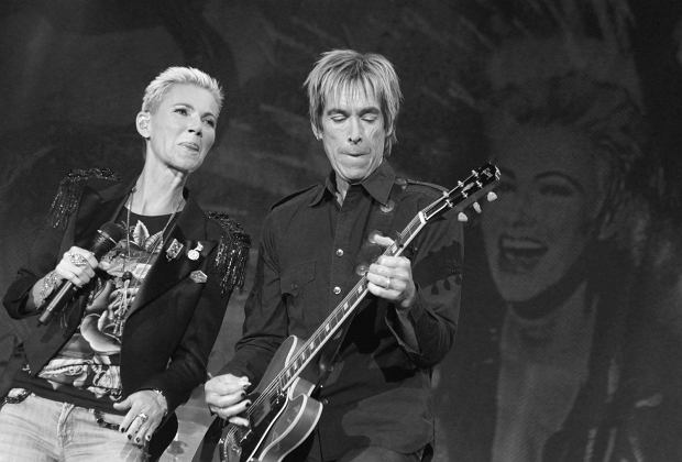 Members of Roxette band Marie Fredriksson and Per Gessle performing at Sports Palace Megasport.