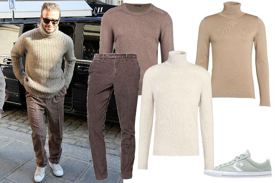 fot. EastNews/ David Beckham/ luźny sweter i brązowe spodnie