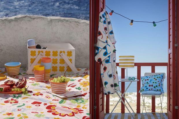 Kosz piknikowy, 37x26x21 cm, metal, 99,99 zł. Lampa stołowa na energię słoneczną, LED, wys. 45 cm, śr. klosza 30 cm, żółty/biały/w paski, 79,99 zł
