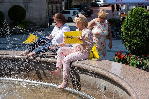 Zdjęcie numer 2 w galerii - W obronie rzek sympatyczne panie zamoczyły nogi w fontannie [ZDJĘCIA]